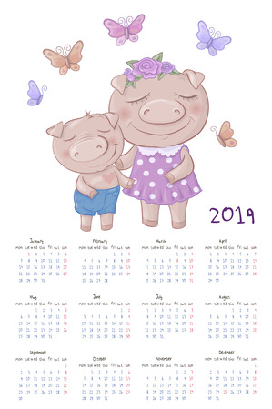 Monthly creative calendar 2019 with cute cartoon pig. Vector illustration