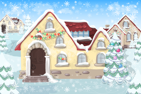 Christmas landscape with christmas tree and house. Vector illustrations.