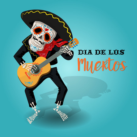 Invitation poster to the Day of the dead party. Dea de los muertos card with skeleton playing the guitar. Funny holiday background. Stock Illustratie