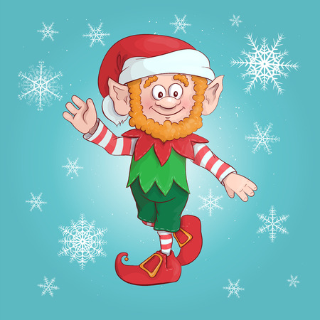 Cartoon Elf. Vector illustration of elf. Character Christmas and new year