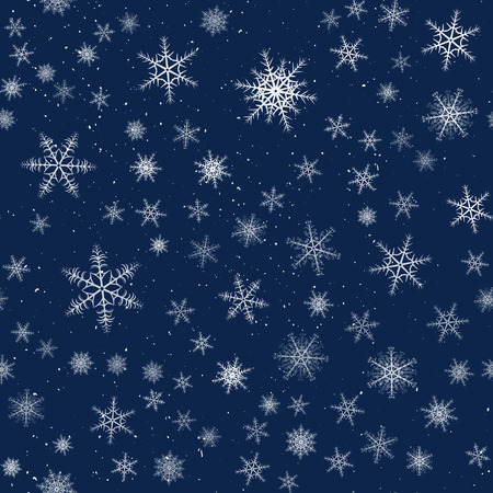 Seamless Christmas pattern cartoon style with snowflakes. Vector illustration.