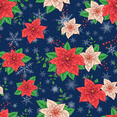 Christmas Winter Poinsettia Flowers Seamless pattern, Floral Pattern Print in vector illustrations