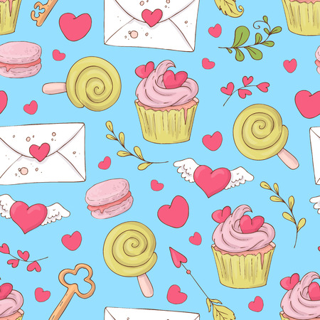 St. Valentine s Day seamless pattern with cupcakes. Vector hand drawn illustration.