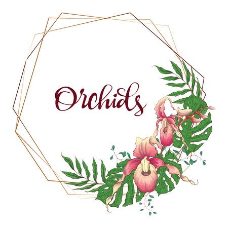 Floral design geometric frame. Orchid, eucalyptus, greenery Wedding card Vector illustrations Ilustrace