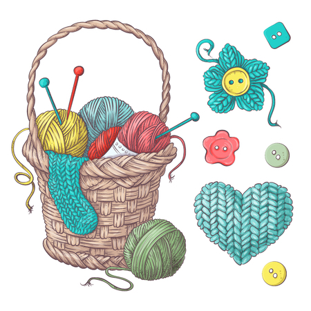 Set for handmade basket with balls of yarn, elements and accessories for crochet and knitting. Vector illustration.