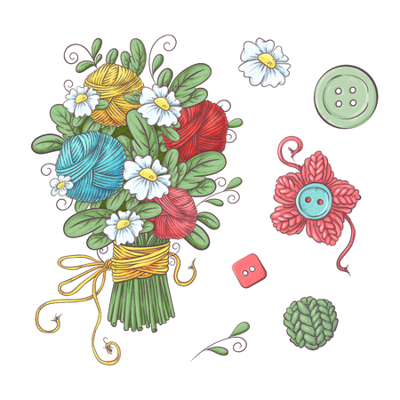Set for handmade ball of yarn and accessories for crocheting and knitting. Vector illustration.