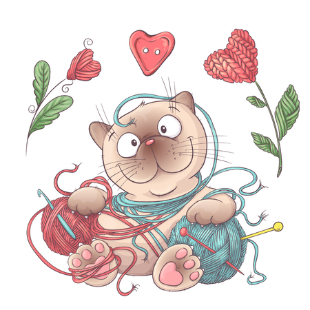 Set for handmade cat with balls of yarn, elements and accessories for crochet and knitting. Vector illustration.