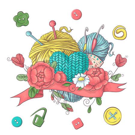 Conjunto de plantilla de logotipo hecho a mano, elementos y accesorios para crochet y tejido. Logos