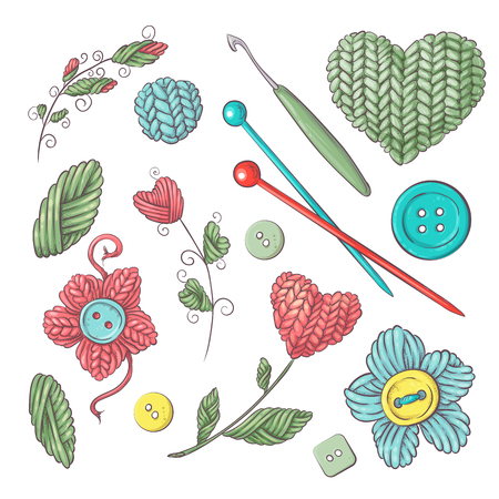 Set for handmade knitted flowers and elements and accessories for crocheting and knitting. Vector illustration.