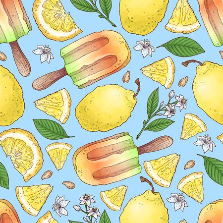 Nahtloser Musterhintergrund der bunten Zitronen- und Mandarinenfrucht und des Zitruseises