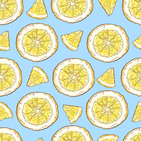 Colorful lemon fruit and citrus ice cream seamless pattern background