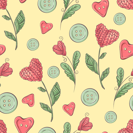 Cute vector seamless pattern of balls of yarn, buttons, skeins of yarn or knitting and crocheting. Illustration