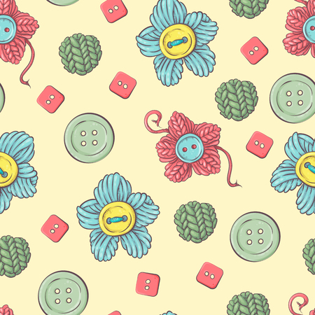 Cute vector seamless pattern of balls of yarn, buttons, skeins of yarn or knitting and crocheting. Çizim