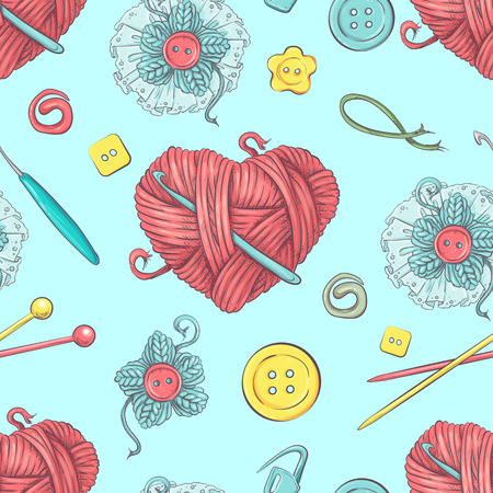 Cute vector seamless pattern of balls of yarn, buttons, skeins of yarn or knitting and crocheting. Stock Illustratie