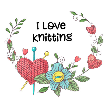Simple illustration with knitting needle, knitting and english text. I love knitting, poster design. Colorful background. Stock Illustratie