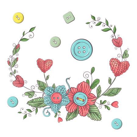 Einfache Illustration mit Stricknadel, Stricken und englischem Text. Ich liebe Stricken, Posterdesign. Bunter Hintergrund. Vektorgrafik