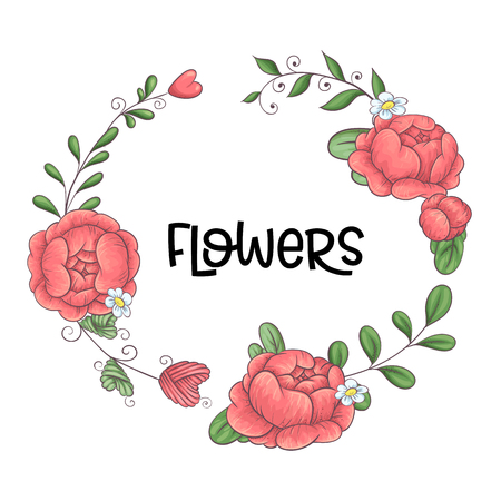 A wreath of peonies hand-drawing. Vector illustration.