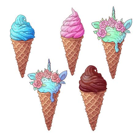Set colorful ice cream unicorn, hand drawing. Vector illustration. Çizim