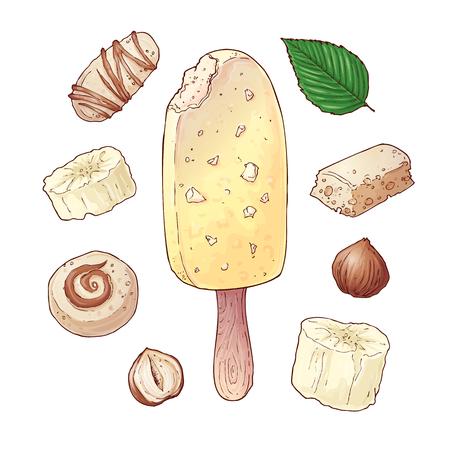 Set ice cream banana candy chocolate nuts. Hand drawing. Vector illustration. Çizim