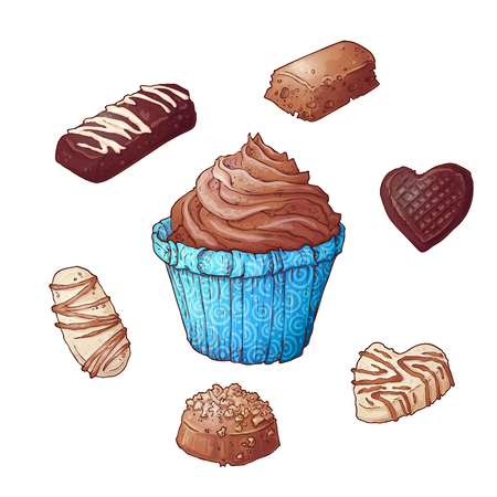 Set of cupcakes chocolates, hand drawing. Vector illustration