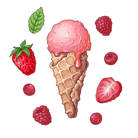 Set ice cream strawberry raspberry cherry. Hand drawing. Vector illustration