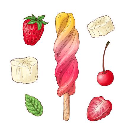 Set ice cream raspberry cherry banana. Hand drawing. Vector illustration. Çizim