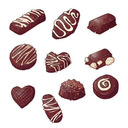 Set Chocolate candies. Vector illustration Hand drawing.