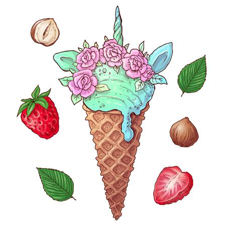 Set ice cream strawberry nuts. Vector illustration of hand drawing. Çizim