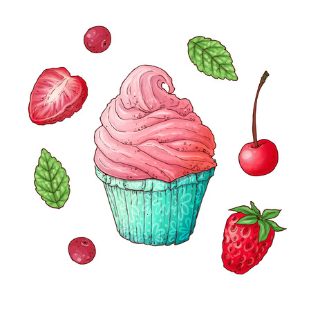 A set of strawberry cherry cupcake. Hand drawing. Vector illustration.
