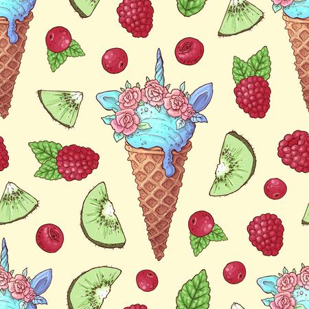 Seamless pattern ice cream kiwi raspberry cherry. Vector illustration. Çizim