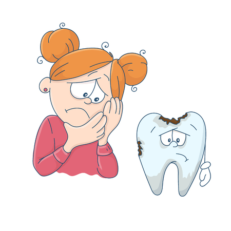 Art on the topic of childrens dentistry. Cute cartoon girl and a bad tooth. Vector illustration. Çizim