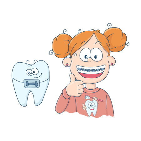 Art on the topic of children's dentistry. Teeth with braces. Vector illustration. Stock Illustratie
