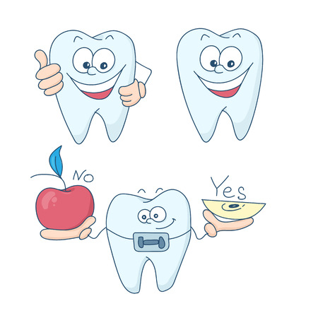 Art on the topic of childrens dentistry. Teeth with braces. Vector illustration.