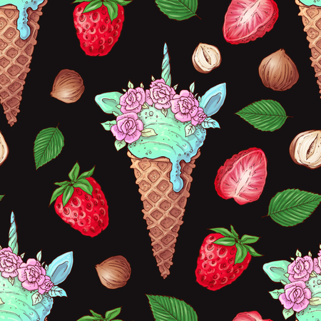Hand drawn vector illustration - Collection of ice cream. Seamless pattern.