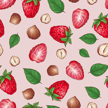 Strawberry nuts seamless pattern .Vector illustration hand drawing. Çizim
