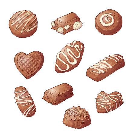 Set Chocolate candies. Vector illustration Hand drawing. Çizim
