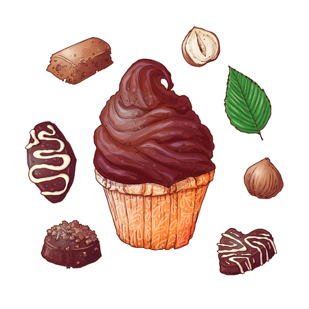 Set of cupcakes chocolate and nuts, hand drawing. Vector illustration Çizim