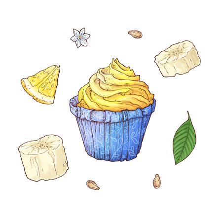Set of banana cupcake. Hand drawing Vector illustration.