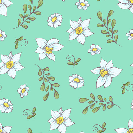 Seamless pattern daffodils. Hand drawing vector illustration.