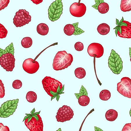 Seamless pattern strawberry cherry raspberry. Hand drawing vector illustration