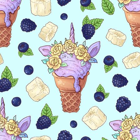 Seamless pattern ice cream wild berries. Vector illustration. Çizim