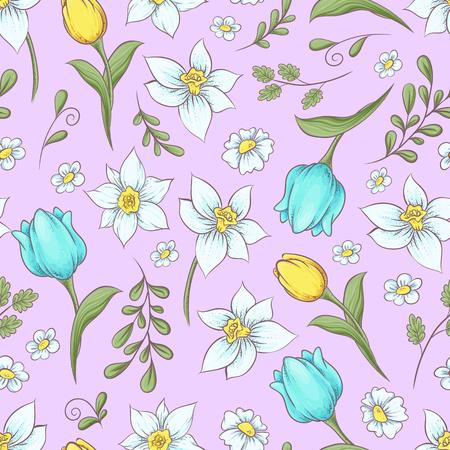 Seamless pattern of daffodils tulips. Hand drawing vector illustration. Çizim