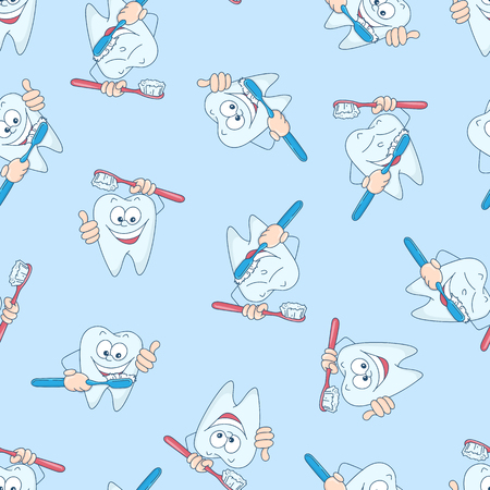Seamless pattern with funny teeth. Hand drawing. Vector illustration.