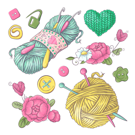 Set for handmade knitted flowers and elements and accessories for crocheting and knitting. Çizim