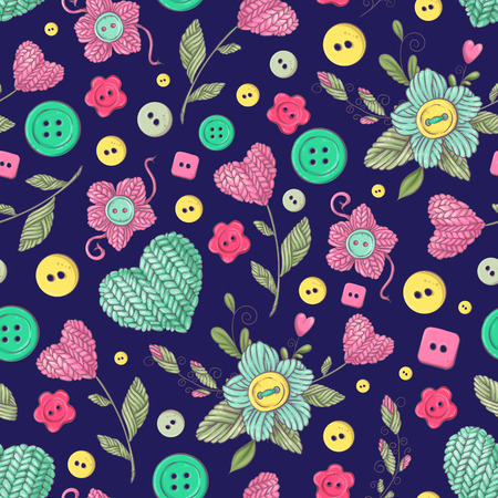 Seamless pattern handmade knitted flowers and elements and accessories for crocheting and knitting.