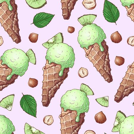 Seamless pattern ice cream nuts kiwi. Hand drawing. Vector illustration.