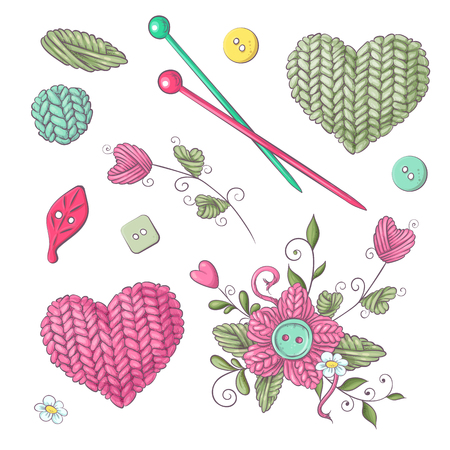 A set of knitted clothes clew knitting needles. Hand drawing. Vector illustration. Çizim