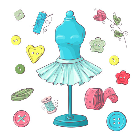 Set of mannequin sewing accessories. Hand drawing. Vector illustration. Çizim