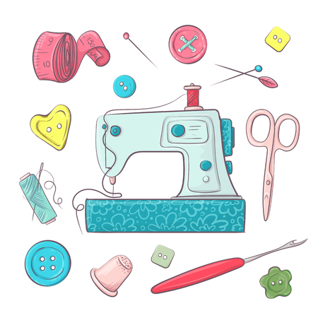 Set the sewing machine sewing accessories. Hand drawing. Vector illustration. Çizim