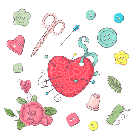 Set of needle bed sewing accessories. Hand drawing. Vector illustration. Çizim